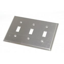 美國 COOPER 93073 三聯三切指撥式開關白鐵蓋板 (Toggle型)