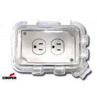 美國 COOPER WIU-1W 白色單聯戶外防水蓋板盒
