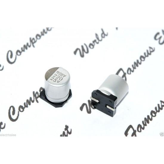 10pcs-日本 NIPPON SMD電解電容 220uF 25V 8x10mm  EMVY250ADA221MHA0G