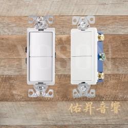 美國 EATON COOPER 7728W 15A 120/277V 白色 方形蹺蹺板 單線式 單聯 雙切開關 (贈送白色尼龍蓋板)