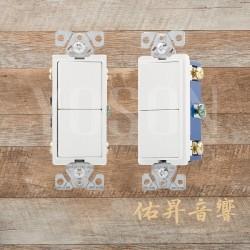 美國 EATON COOPER 7731W 15A 120/277V 白色 方形蹺蹺板 三線式 單聯 雙切開關 (贈送白色尼龍蓋板)