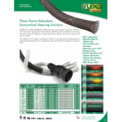 1公尺-美國Techflex FRN0.75TW 套管(隔離網/編織網) 白底黑邊