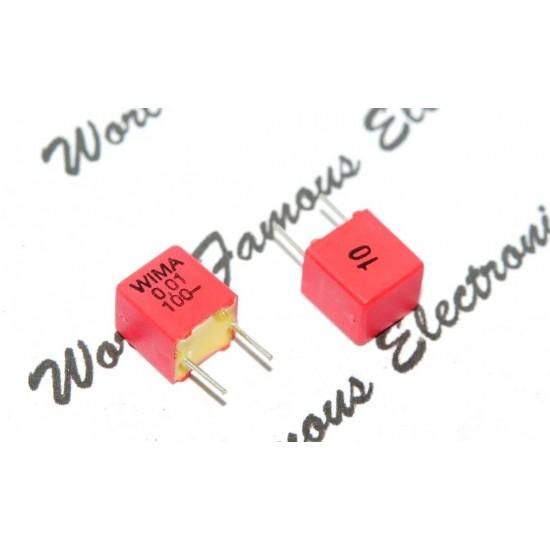 德國 WIMA FKP2 0.01uf (0,01µF 10nF) 100V  10% 腳距:5mm Polypropylene Capacitor 金屬膜電容器