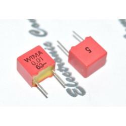 德國 WIMA FKP2 0.01uf (0,01µF 10nF) 63V 5% 腳距:5mm Polypropylene Capacitor 金屬膜電容器