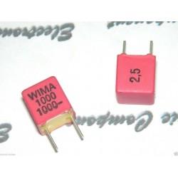 德國 WIMA FKP2 1000P (1000PF 1nF) 1000V  2.5% 腳距:5mm Polypropylene Capacitor 金屬膜電容器