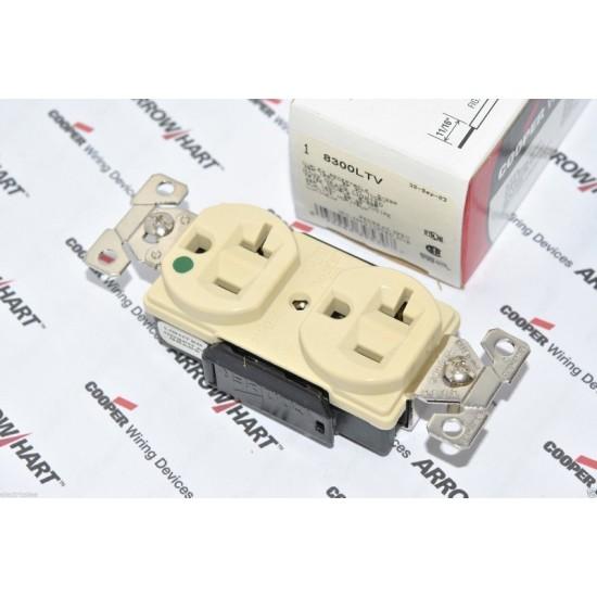 特價中 美國 COOPER 象牙色帶燈醫療級插座 8300LTV 125V 20A NEMA 5-20 (DUPLEX型) 美製