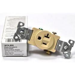 美國 COOPER 單孔插座 象牙白 1877V 20A 125V (110V通用) 冰箱 冷氣 烤箱 微波爐可用