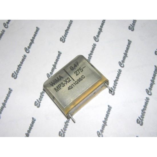 德國WIMA MP3-X2 0.47uF 275Vac 20% 腳距:27.5mm X2紙質 開關 防火花 RFI 電容器