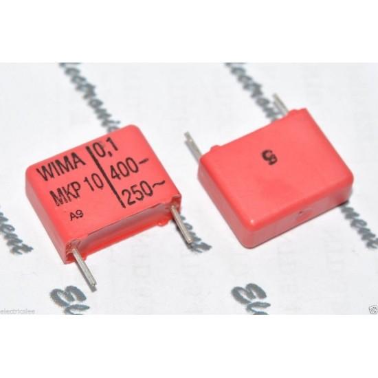 德國WIMA MKP10 0.1uF (0.1µF 0,1uF 100nF) 400V 5% 腳距:15mm 金屬膜電容器