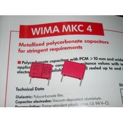 WIMA MKC4 0.22uF 250V 20% 腳距:15mm Polycarbonate 金屬膜電容器