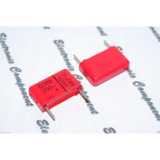 德國WIMA MKP10 0.068uF (0.068µF 68nF) 250V 腳距:15mm 20% 金屬膜電容器