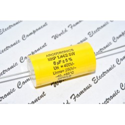 ARCOTRONICS 6uF 400V 5% MKP 1.44/2 SW 臥式金屬膜電容器 1顆1標