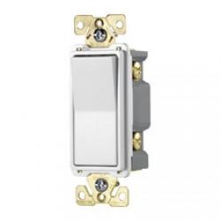 美國 COOPER 四線式(四路) 單開單聯電源開關 電燈開關 白色 7624W 20A 120/277V 方形蹺蹺板式 買就送白色尼龍蓋板∼限量