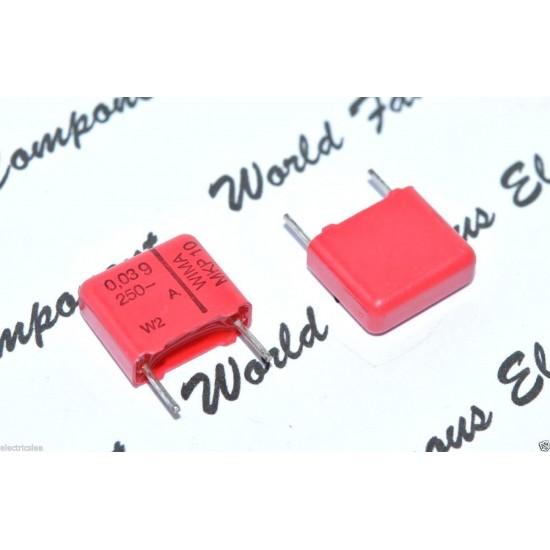 德國WIMA MKP10 0.039uF (0.039µF 0,039µF 39nF) 250V 20% 腳距:10mm 金屬膜電容器