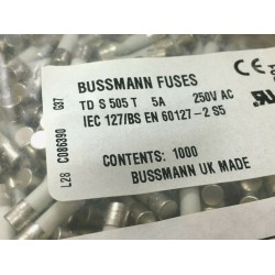 BUSSMANN S505 T 5A 250V AC 20mm 慢融 陶瓷 保險絲 1顆