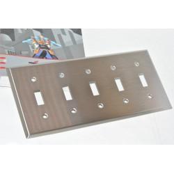 美國 COOPER 93075 五聯五切指撥式開關白鐵蓋板 (Toggle型)