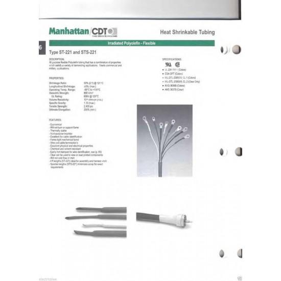 0.5公尺-美國Manhattan/CDT 3/16 (4.8mm) 熱縮比例 2:1 紅色 軍規熱縮套管