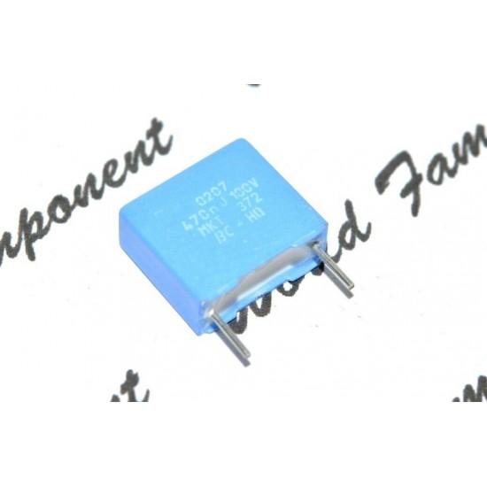 1個 - BC (PHILIPS) MKT372 0.47uF 100V 5% 10mm 金屬膜電容