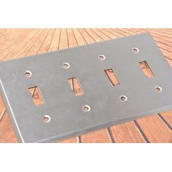 美國 COOPER 93074 四聯四切 指撥式開關 白鐵蓋板 (Toggle型)