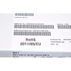 德國WIMA MKS4 0.047uF 100V 5% 腳距:7.5mm 金屬膜電容器
