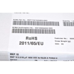 德國WIMA MKP10 0.015uF(15nF) 1600V 5% 腳距:22.5mm 金屬膜電容
