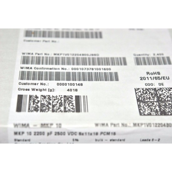 WIMA MKP10 2200P 2500V 5% 腳距:7.5mm 金屬膜電容 x 1