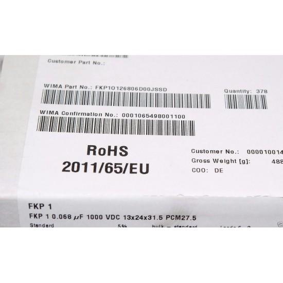 德國WIMA FKP1 0.068uF  1000V 5% 腳距:27.5mm 金屬膜電容器 1PCS