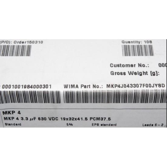 德國WIMA MKP4 3.3uF 630V 5% 腳距:37.5mm 金屬膜電容器
