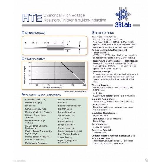3RLab HTE39 3M 1% 3W 10KV 厚膜高壓無感電阻