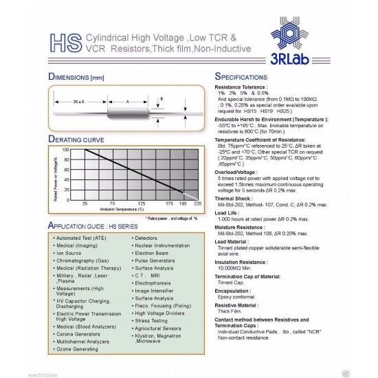 3RLab HS39 100M 1% 2.5W 10KV 厚膜高壓無感電阻