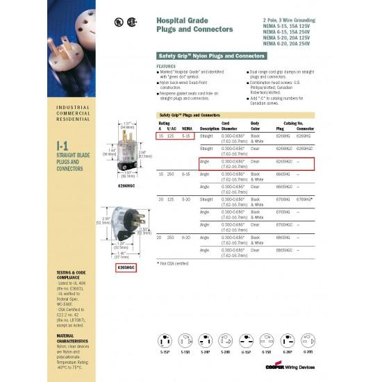 美國 EATON COOPER L型醫療級插頭 6265HGC 15A 125V NEMA L5-15 (L型)