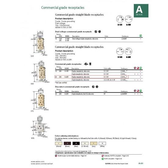 美國 EATON COOPER 商用級插座 815B 20A 250V 咖啡色 NEMA 6-20 Duplex / 台灣220V可用