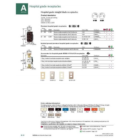 美國EATON COOPER AH8400W 20A 250V 白色 醫療級插座  節能省電 最安全 DUPLEX型