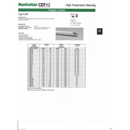 1公尺-Manhattan F240-3/8 (9.83mm) 240°C 玻璃纖維 耐高溫套管