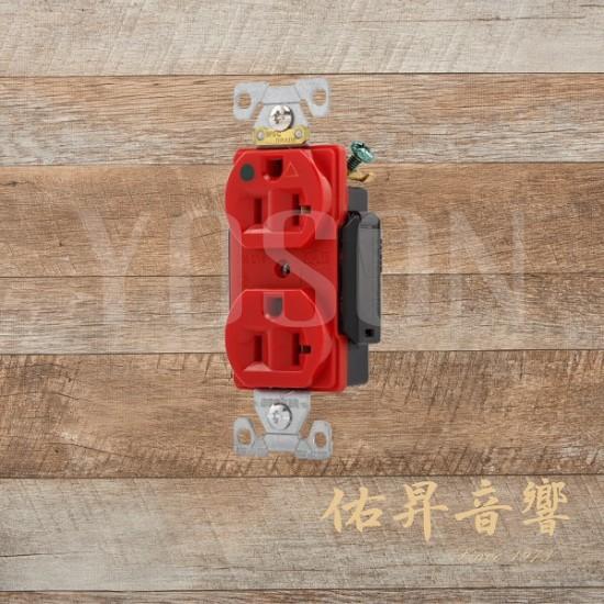 [熱賣中] 美國 EATON COOPER IG8300RD 20A 125V  紅色 獨立接地 醫療級插座  節能省電 最安全 DUPLEX型 (贈送尼龍或白鐵蓋板)