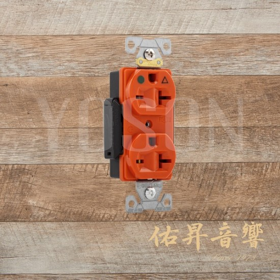 美國 EATON COOPER IG8400RN  20A 250V 橘色 獨立接地 醫療級插座 節能省電 最安全 DUPLEX型 (贈送尼龍或白鐵蓋板)