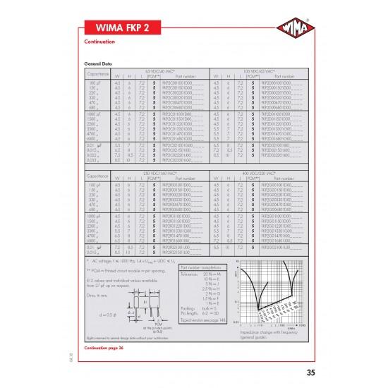 德國 WIMA FKP2 0.01uf (0,01µF 10nF) 400V 5% 腳距:5mm Polypropylene Capacitor 金屬膜電容器